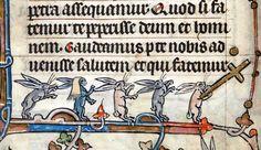 Rabbits on parade.  Hours of Saint-Omer, France ca. 1320BL, Add 36684, fol. 24v