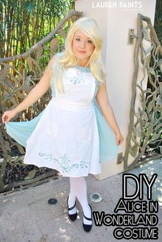 Alice in Wonderland DIY Halloween Costume - Dressing up for Halloween is fun and making your own costume rather than buying store bought is even more fun! Check out this transformation!