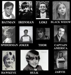Kid photos of the Avengers The only ones I recognize are Cap'n, Loki and Banner. -but Jarvis is cute! again, Batman and the Joker are not even part of Marvel, let alone from The Avengers. Spiderman is Marvel, but he's not in the Avengers. Dc Memes, Marvel Memes, Funny Memes, Funniest Memes, Marvel Funny, Videos Funny, Funny Dogs, The Avengers, Young Avengers