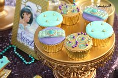 Stunning cupcakes at a Princess Jasmine birthday party! See more party planning ideas at CatchMyParty.com!