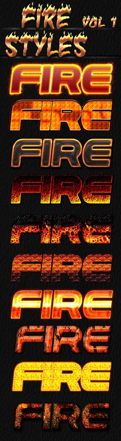 Fire Styles Pack for flyers, games and animations.