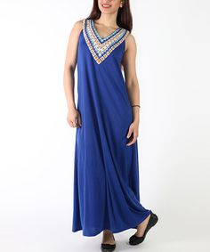 Loving this Royal Embellished-Yoke Maxi Dress - Plus on #zulily! #zulilyfinds