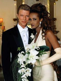 Celebrity Marriage: David Bowie & Iman, (m. 1 child) Celebrity Marriage: David Bowie & Iman, (m. Celebrity Wedding Photos, Celebrity Couples, Celebrity Weddings, Iman And David Bowie, Iman Bowie, Beautiful Bride, Beautiful People, Hollywood Wedding, Famous Couples