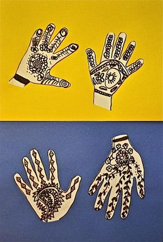 art project to design henna decorations on your own traced hands--We've got henna, so our next step after this will be to do the real deal!