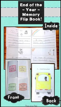 End of the Year Flipbook ~ Kindergarten This end of the year activity includes 2 pages that, when copied back-to-back, turn into the cutest little end of the year flip book! The front of this end of year book has 4 flaps labeled: A Funny Memory, My Favori Teaching 5th Grade, 3rd Grade Classroom, Book Activities, Teaching Resources, Teaching Ideas, End Of School Year, End Of Year, Writing Lab, Kindergarten Literacy