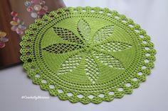 Lime green Doily Crochet doily Round crochet by CrochetbyMariana Crochet Lace Edging, Filet Crochet, Crochet Stitches, Decoration Ikea, Crochet Decoration, Free Knitting, Knitting Patterns, Crochet Patterns, Lace Doilies