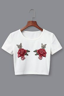White Knit Floral Rose Embroidered Crop Top