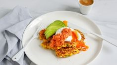 Avocado, poached eggs and a smoky, spicy red capsicum sauce make these fritters a top-notch brunch. Poached Eggs, Corn Patties, Breakfast Recipes, Breakfast Ideas, Breakfast In Bed, Fritters, Recipe Of The Day, Wine Recipes, Beignets