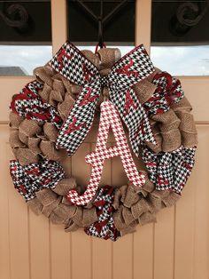 University of Alabama Wreath Burlap Wreath Crimson by BlondeMoxie $65.00 & University of Alabama Door Wreath | Graduation Cards u0026 Gifts ...