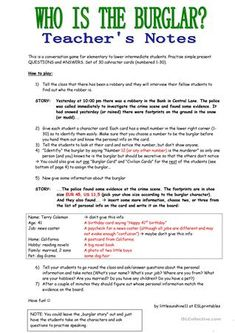 WHO IS THE BURGLAR? - 30 Conversation Cards - Roleplay - Class and Group Speaking - English ESL Worksheets for distance learning and physical classrooms Esl Lessons, English Lessons, Learn English, Speaking Games, Conversation Cards, English Reading, Teacher Notes, English Classroom, Teaching Jobs