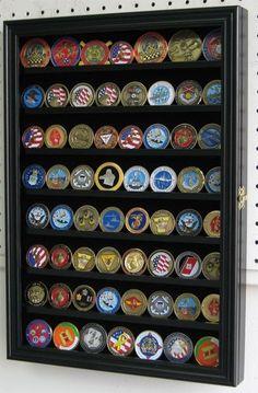 56 Challenge Coin Display Case Rack Cabinet, with door, Shadow Box - NEW