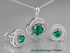 Sterling Silver Lab Created Emerald & White Topaz Earrings or Pendant - Your Choice