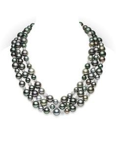 Mikimoto Classic Pave Necklace 11mm/10mm/9mm/8mm Multicolor Black South Sea cultured pearl necklace with 10.02 cts. of diamonds, set in 18k white gold. $110,000.00