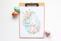 Happy Easter Printable Art: Lovely pastel art, perfect for Easter parties and celebrations. Sweet in a frame or on a clipboard. Easter Art, Easter Printables, Happy Easter, Crafts To Make, Printable Art, Tuesday, Picture Frames, Modern Farmhouse, Holiday