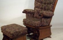 Exceptionnel Vintage Brown Varnishes Solid Oak Wood Swivel Glider Rocker Chair Which Has  Florals Padded