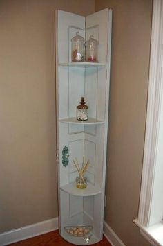 Corner Shelf Made from Door.