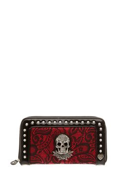 Plus Size Rock Rebel - Red With Black Lace Skull Zip Wallet