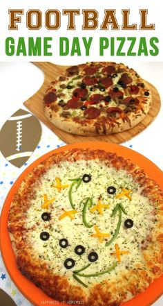 Football Game Day Pizzas - perfect for Super Bowl Sunday! These are so cute and super easy to make!