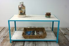 Pallet Wood and Steel Coffee Table - Coastal Blue & Whitewash