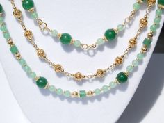 Green aventurine and gold 2- or 3-strand necklace by ParkhillDesigns on Etsy