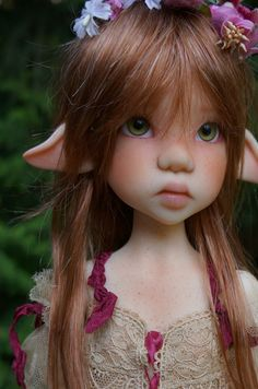Customized Fair Skin Laryssa Faun MSD BJD by Kaye Wiggs, Faceup and body blushing by Kaye Wiggs, Handmade Outfit by Grace of Magical Creatures, Fantasy Creatures, Ooak Dolls, Blythe Dolls, Elves And Fairies, Fairy Pictures, Kawaii Doll, Angel Art, Miniature Fairy Gardens