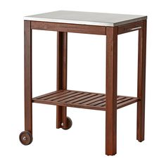 ÄPPLARÖ / KLASEN Serving cart, outdoor - brown stained/stainless steel - IKEA