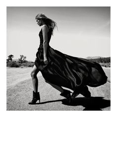 Carretera Secundaria – Malgosia Bela takes on western style for the August cover shoot of Vogue Spain, lensed by Greg Kadel. Malgosia joins male model Cedric Bihr in autumn looks from the likes of Prada, Balenciaga, Alexander McQueen and Dolce & Gabbana styled by fashion editor Havana Laffitte as they travel a desert landscape from day to night. / Hair by David von Cannon, Mariel Barrera