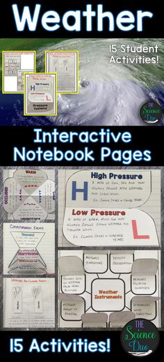 Bring engaging and interactive activities into your classroom with these science notebook pages. This resource contains 15 different interactive notebook activities covering weather instruments and symbols, weather maps, forms of precipitation, fronts, catastrophic events, and much more!