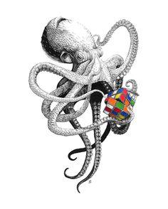 whatever tweaks my interests. — 3y3: Octopuzzle, Lindsey Robson Octopus Squid, Kraken, Personalized Items, Animals, Art, Humor, Drawings, Art Background, Animales