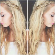 Bangs braided and pinned back with straight, messy blonde hair.