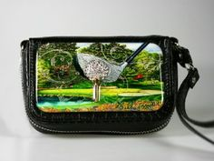 Debbie Brooks cell phone, wrist/shoulder bag. Golf ball luxury with black faux croc with silver hardware.