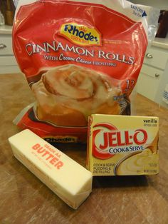 For you semi-homemade devotees — have you tried this recipe? What you need … For you semi-homemade devotees — have you tried this recipe? What you need — Rhodes frozen Cinnamon Rolls to a package) Köstliche Desserts, Delicious Desserts, Dessert Recipes, Yummy Food, Breakfast Items, Breakfast Dishes, Breakfast Recipes, Breakfast Tailgate Food, Frozen Breakfast