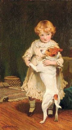 Charles Burton Barber – English) - little girl with Jack Russell Terrier Jack Russell Terriers, Vintage Dog, Vintage Children, Art Children, Munier, Smooth Fox Terriers, Amor Animal, Dogs And Kids, Victorian Art