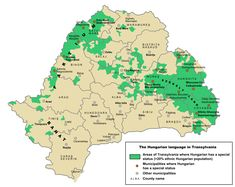 Areas of Transylvania where Hungarian has co-official status (in the localities of those areas, at least 20% of the population is Hungarian)
