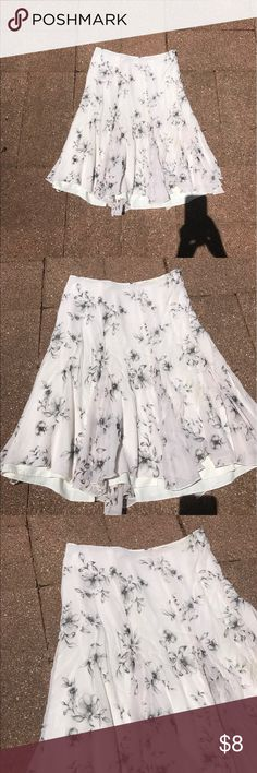 """Ann Taylor loft white Floral knee length skirt- 14 Flowy """"gypsy"""" style Ann Taylor loft skirt size 14,  no stains, tears or discoloration Ann Taylor Skirts"""