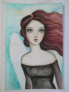 "Original OOAK 4 x 6 Mixed Media Watercolor acrylic colored pencil ""Wings"" A Kennedy Angel"