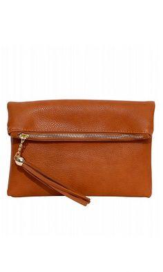 Fold Over Purse in Cognac Leather