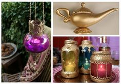 Another idea for Aladdin themed centerpieces. I really like the colored jars w/ the candles. Very pretty!