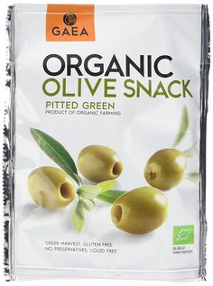 Gaea Organic Pitted Green Olives, 65 g, Pack of 8 Organic Farming, Aga, Food Packaging, Olives, Preserves, Olive Green, Harvest, Goodies, Gluten Free