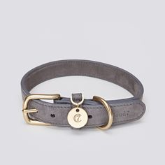 Cloud7 luxury Dog Collar TIERGARTEN in beautiful Taupe colour from high quality Nubuck leather. Metalwork of solid brass. All sizes for all dog breeds. German handicraft.