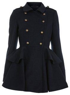 Boucle Navy Skirted Coat