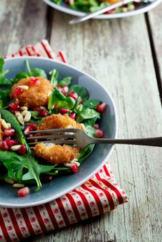 Fried Goat's cheese salad. #Recipe #Christmas #Vegetarian