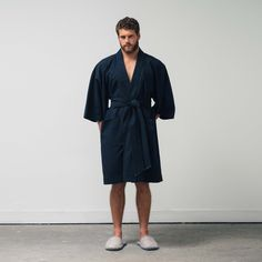 The Kimono is offered in a waffled cotton that has a hand feel unlike anything else. Finished with an indigo tipped detachable belt, the Kimono lends utility as a lightweight overcoat while also being the perfect loungewear indulgence. Designed and made locally to the highest quality.