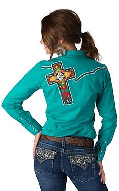 Ariat Women's Rosario Turquoise with Embroidered Cantina Bonita Cross Long Sleeve Western Shirt | Cavender's
