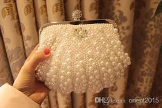 Hot Style Fashion Beaded Women's Handbag Full Pearl Diamond Ring Bridal Satin Party Clutch Chain Shoulder Woman Bag Evening Online with $18.85/Piece on Orient2015's Store   DHgate.com