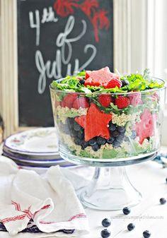 Red, White, Blue, and Green!  Greens, raspberries, blueberries, quinoa & watermelon stars.