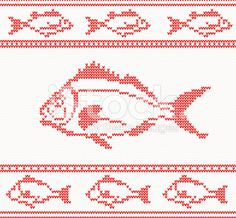 Knitted seamless pattern with fish royalty-free stock vector art
