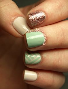 Mint Pink Nail Art, wouldn't do all this at once but the colors and designs are so pretty!