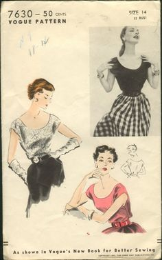 Vogue 7630 ©1952 blouse