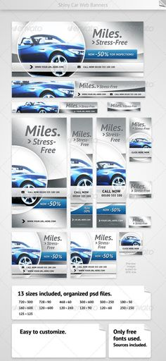 Shiny Car Web Banners  #GraphicRiver         Packet contains 13 high-quality banner template PSD files ready for your products and campaigns. Fully organized & layered.    Banner: 468×60  Leaderboard: 728×90  Medium Rectangle: 300×250  Square: 250×250  Skyscraper: 120×600  Wide Skyscraper: 160×600  Button 1: 120×90  Button 2: 120×60  Button 3: 180×50  Vertical Banner: 120×240  Half Page Ad: 300×600  Pop-Under: 720×300